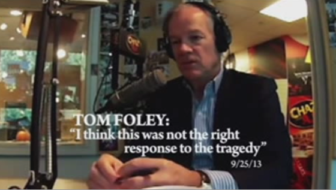 A scene from Michael Bloomberg's commercial attacking Tom Foley and praising Gov. Dannel P. Malloy.