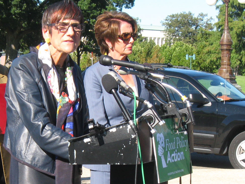 Connecticut U.S. Rep. Rosa DeLauro, D-3rd District, left, flanked by House Minority Leader Nancy Pelosi of California. (File photo)
