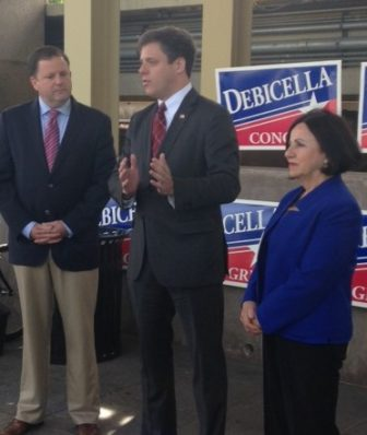 4th District Republican Congressional candidate Dan Debicella, center, at the Westport train station with State Sen. John McKinney of Fairfield, R-28th, and State Sen. Toni Boucher of Wilton, R-26th.