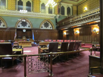 The Connecticut State Senate chamber in Hartford.
