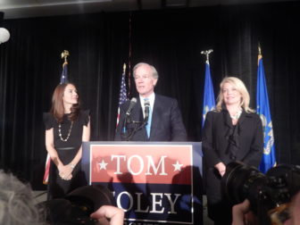 Foley concedes his probable defeat with his wife, Leslie, at left, and Heather Bond Somers.