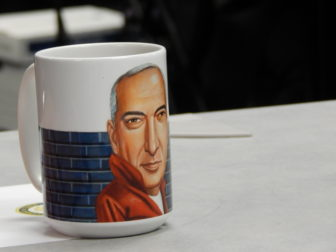 """As a gift, Thomas Leonardi received a mug with the illustration of him that accompanied an article dubbing him a """"rebel with a cause."""" The illustration was by Charlie Powell."""