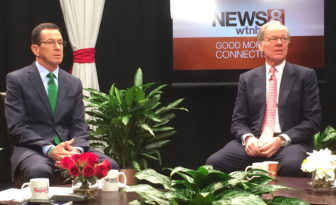 Gov. Dannel P. Malloy and Tom Foley on set at WTNH.