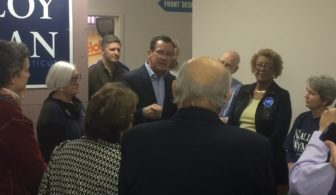 Gov. Dannel P. Malloy addressing volunteers in West Hartford.