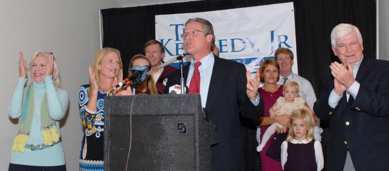 Ted Kennedy Jr. celebrates his victory in the State Senate 12th District. He was supported by former U.S. Sen. Chris Dodd, far right, who was a friend of Kennedy's late father.