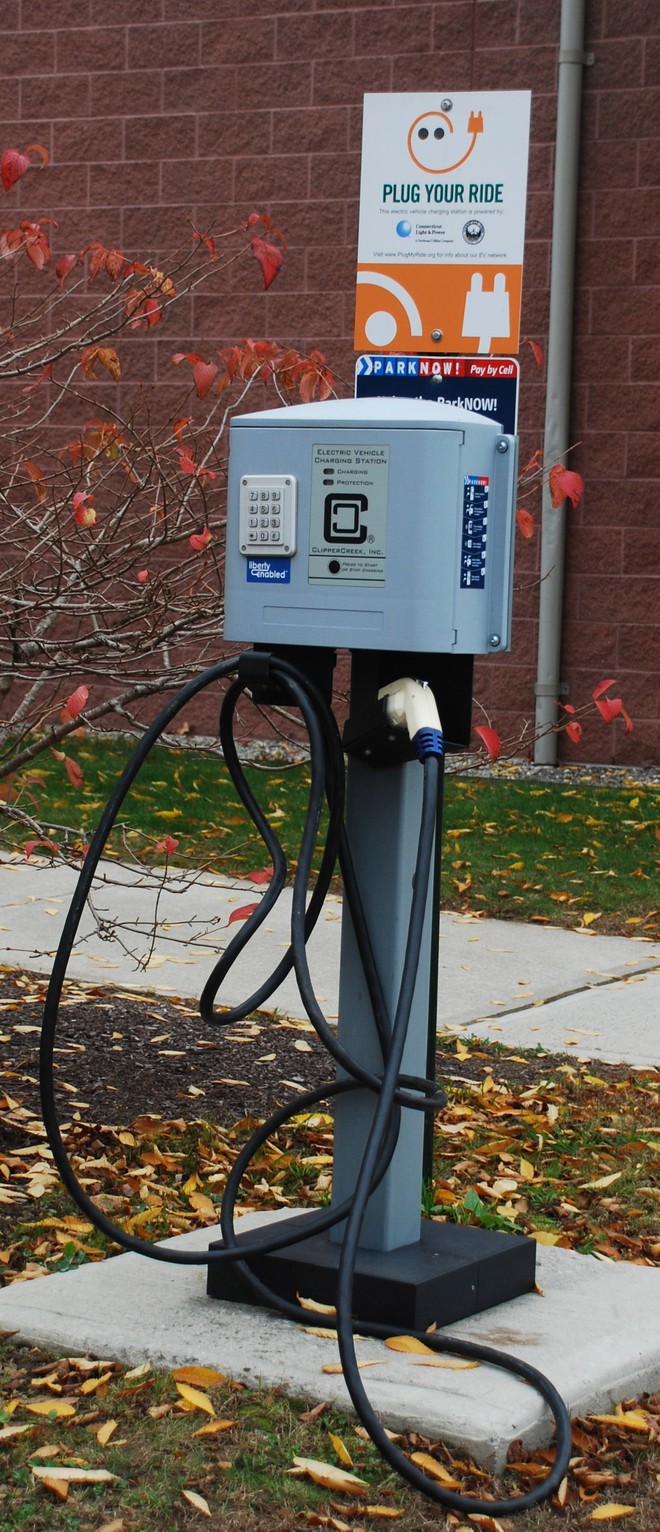 A charging station at the Mansfield Community Center. The town manager drives an electric car.