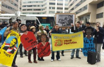 Immigrant advocates at the Department of Homeland Security in Washington, D.C., Thursday.