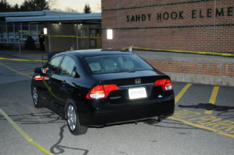Adam Lanza's car parked outside of Sandy Hook Elementary School