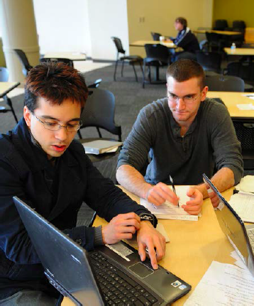 Students studying pictured in marketing materials for the plan