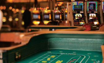A craps table in the Casino of the Earth at Mohegan Sun.