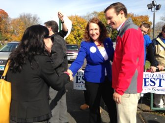 U.S. Rep. Elizabeth Esty and Sen. Chris Murphy outside Cheshire High School