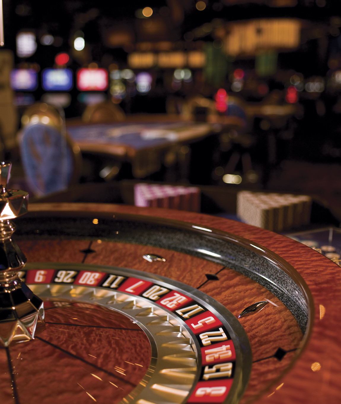A roulette wheel in the Casino of the Wind at Mohegan Sun