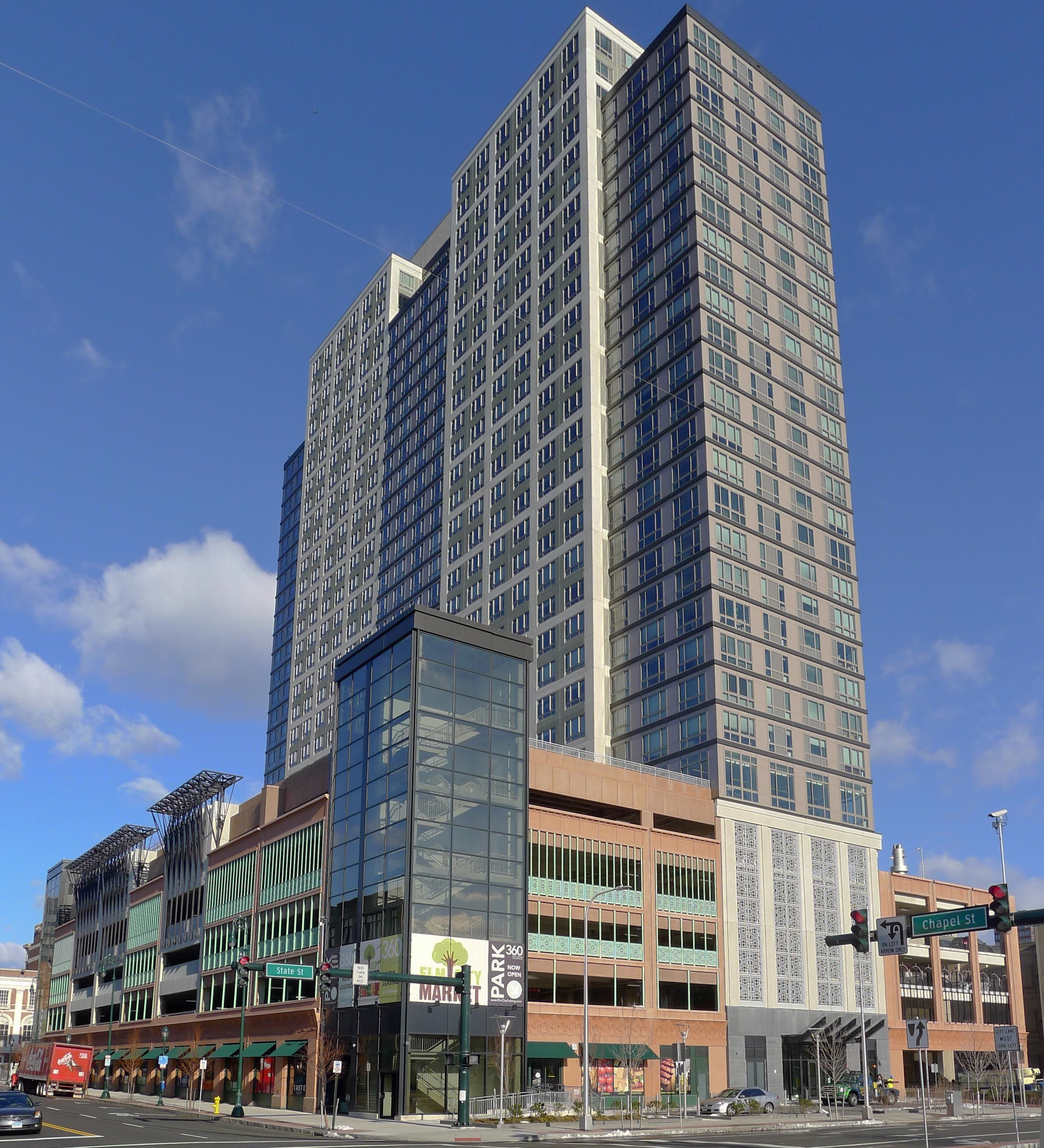 360 State Street in New Haven, which is partly powered by a 400-kilowatt fuel cell.