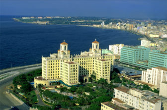 Panoramic view of Havana taken from the top of the Focsa building in Vedado, with the venerable Hotel Nacional in the foreground.