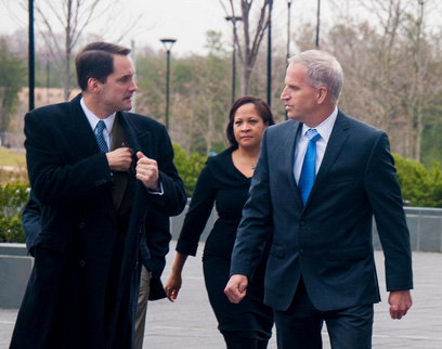 Rep. Jim Himes with Robert Cardillo, director of the National Geospatial-Intelligence Agency.
