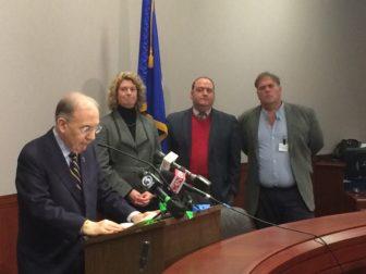 Sen. Martin Looney, Consumer Counsel Elin Swanson Katz, John Erlingheuser and Tom Swan.