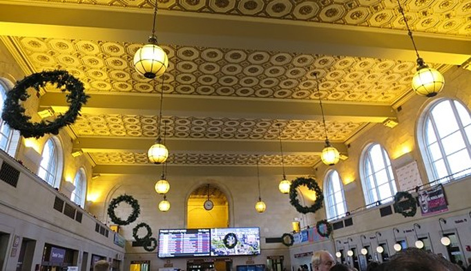 The elegant ceiling at New Haven's Union Station.
