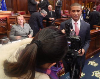 Freshman Rep. Aundre Bumgardner, R-Groton, is the focus of a flurry of interviews on his first day.