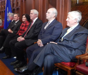 Six former Speakers of the Connecticut House, from left to right, Christopher Donovan, James Amann. Moira Lyons, Thomas Ritter, Richard Balducci and Ernest Abate.