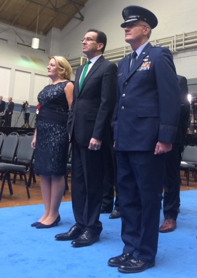 Malloy arrives at the state armory for his swearing-in accompanied by his wife Cathy and Thaddeus Martin, state adjutant general.