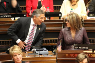 Senate Minority Leader Len Fasano and House Minority Leader Themis Klarides during the governor's State of the State address.
