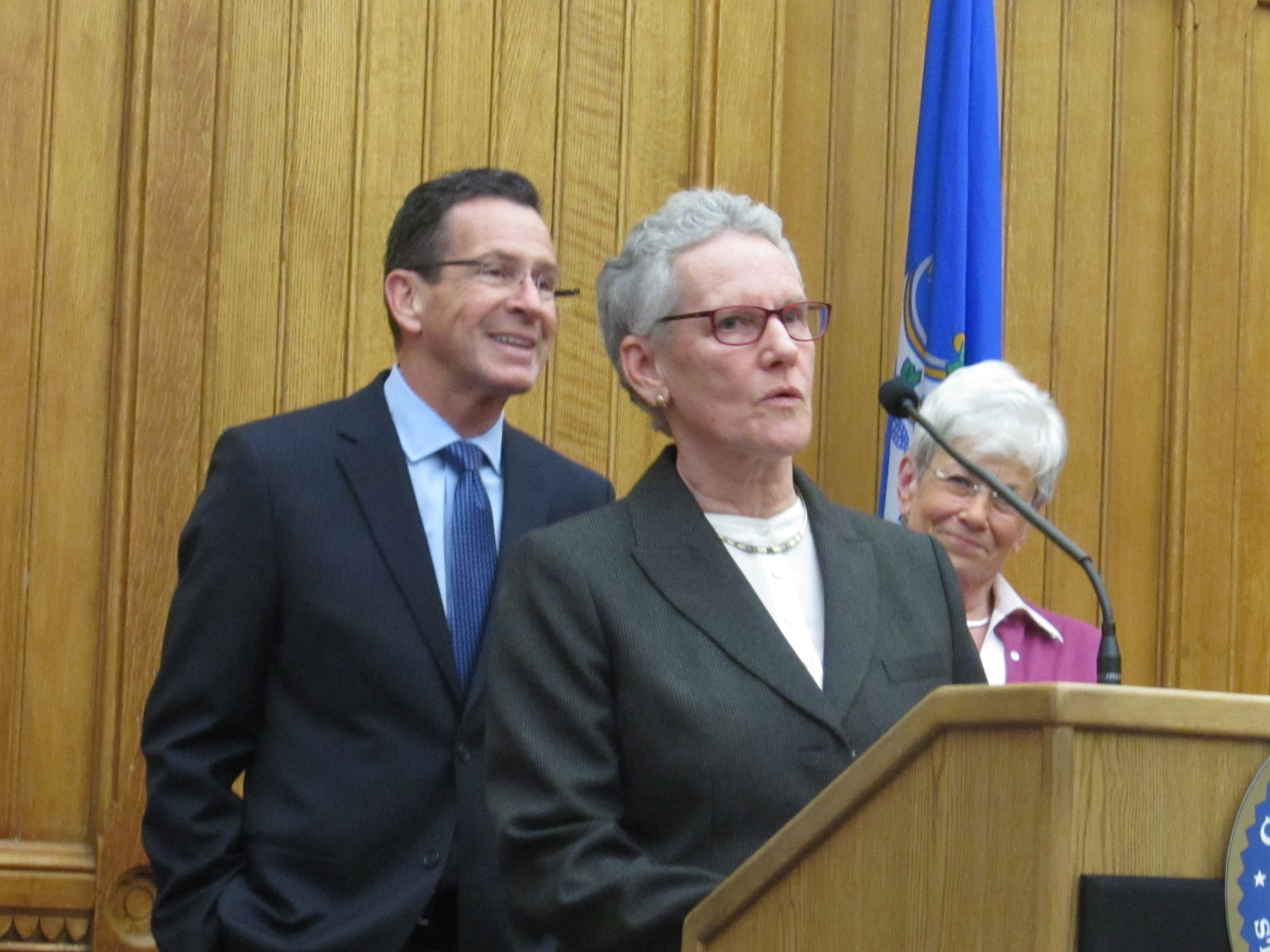 Betsy Ritter with Gov. Dannel P. Malloy and Lt. Gov. Nancy Wyman.