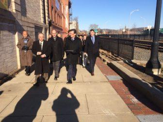 Gov. Dannel P. Malloy toured the site of new Meriden railroad station.