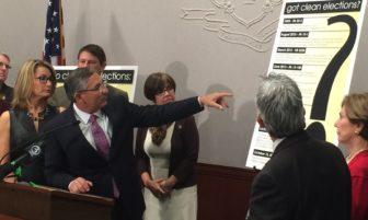 Senate Minority Leader Len Fasano points to GOP  campaign reforms.