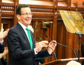 Gov. Dannel P.. Malloy gives his State of the State speech at the state Capitol.