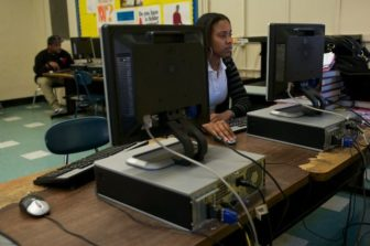 A Bridgeport student takes a practice test aligned with Common Core