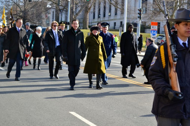 Gov. Dannel P, Malloy and wife, Cathy, marching to inaugural.