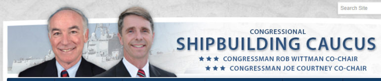 The home page of the Congressional Shipbuilding Caucus website. Rep. Joe Courtney is a co-chairman.