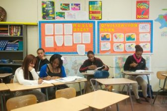 A classroom in a high school in Bridgeport
