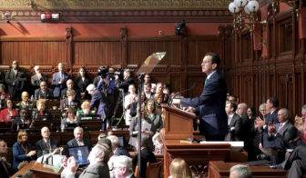 Gov. Dannel P. Malloy addresses the General Assembly in a joint session after announcing his budget proposal on Wednesday.