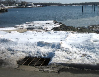 A stormwater catch basin in Branford near Long Island Sound