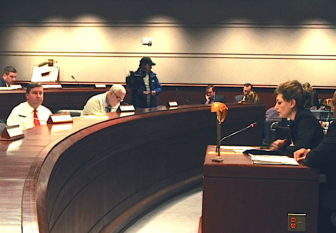 University of Connecticut President Susan Herbst testifies before the legislature's Appropriations Committee Tuesday on the impact of proposed cuts to UConn's budget.