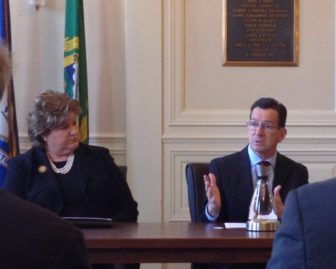 Gov. Dannel P. Malloy and East Hartford Mayor Marcia Leclerc at East Hartford Town Hall Thursday.
