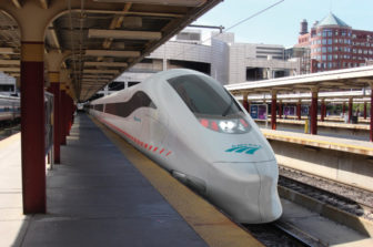 An artist's rendering of an Amtrak high speed train in Boston.