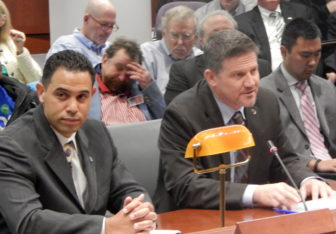Tribal chairmen Rodney Butler of the Mashantucket Pequots, left, and Kevin Brown of the Mohegans testify Tuesday at a legislative hearing on gaming expansion.