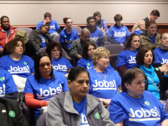 Mohegan Sun workers pack a legislative hearing Tuesday on expansion of gaming.