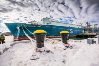 An LNG tanker making a delivery last January in Everett, MA.