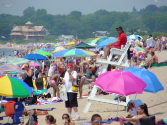A crowded day at Hammonasset Beach State Park in Madison.