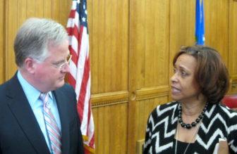 House Speaker J. Brendan Sharkey and Appropriations Committee Co-chair Toni Walker