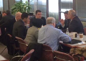 Foxwoods and Mohegan officials sit with their lobbyists in the Legislative Office Building cafeteria.