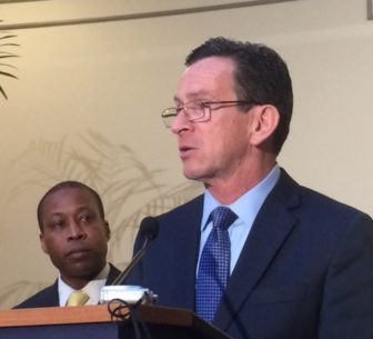 Gov. Dannel P. Malloy and Scott Jackson, chairman of the Sandy Hook commission.