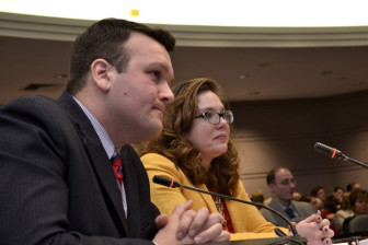 State Rep. Kelly Luxenberg,D-12th, right, delivering her testimony to the legislature's Judiciary Committee on March 18. At left is State Rep. Jesse MacLachlan, Clinton.
