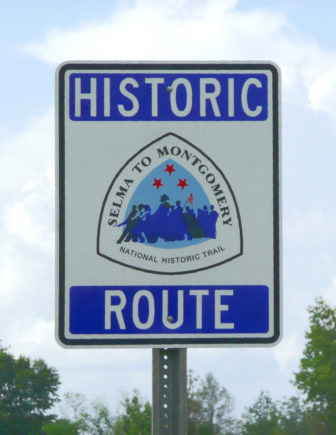A sign marking the Selma to Montgomery National Historic Trail.