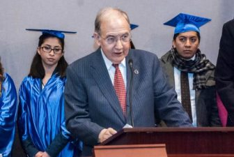 Sen. Martin Looney at a press conference last week announcing his support for financial aid for Dreamers