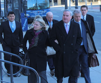 Former Gov. John G. Rowland and his wife Patty arrive at the U.S. Courthouse in New Haven for Rowland's sentencing Wednesday.