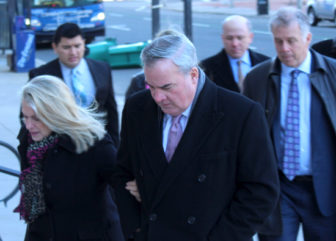 Former Gov. John G. Rowland and his wife Patty arriving at the U.S. Courthouse in New Haven for Rowland's sentencing Wednesday.